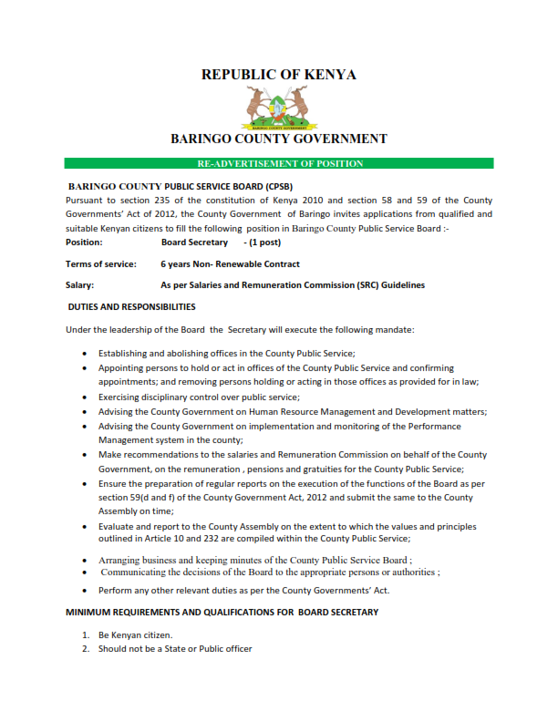 CPSB BARINGO COUNTY GOVERNMENT  RE-ADVERTISEMENT FOR BOARD SECRETARY