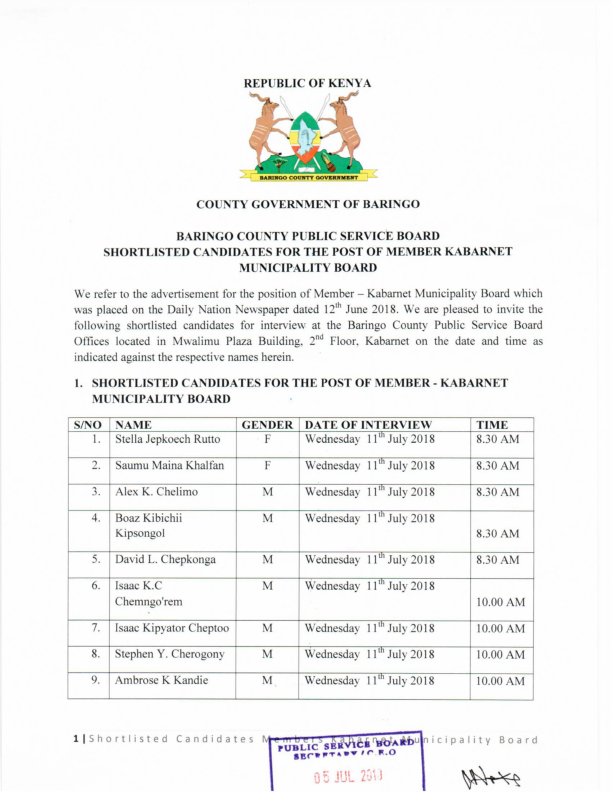 Shortlist for members of Kabarnet Municipal Board 001