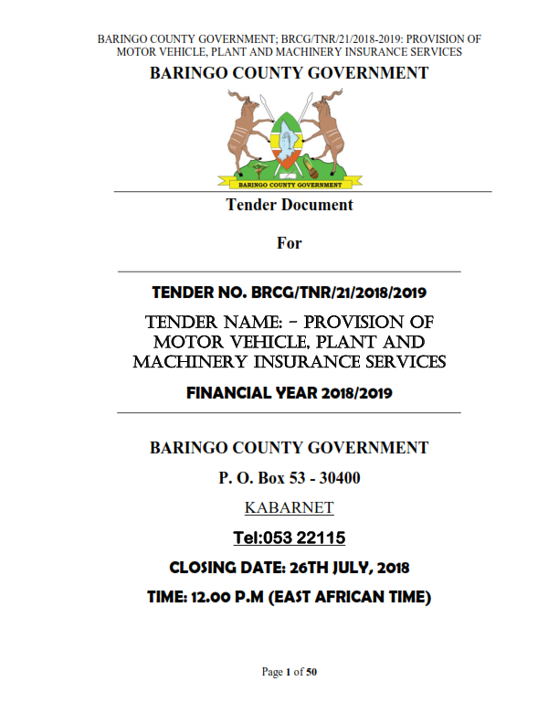 BRCG TNR 2018 2019 PROVISION OF MOTOR VEHICLE PLANT AND MACHINERY INSURANCE SERVICES 001